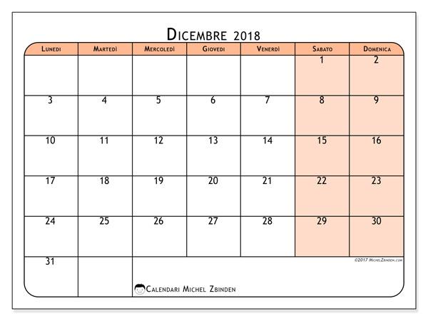 Calendario dicembre 2018, Olivarius