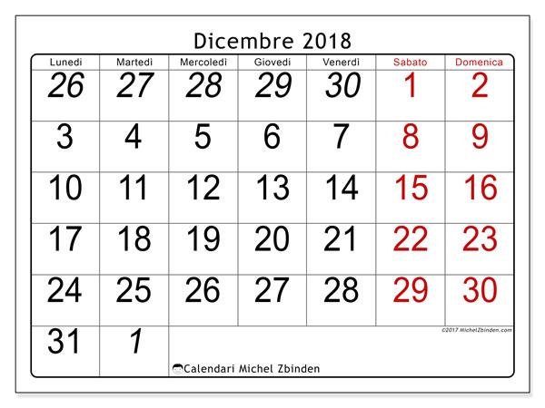 Calendario dicembre 2018, Oseus