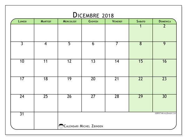 Calendario dicembre 2018, Silvanus