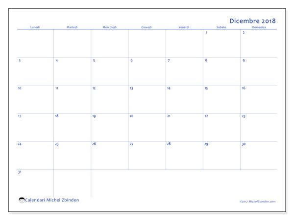 Calendario dicembre 2018, Ursus