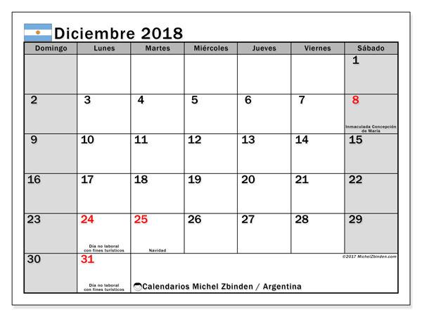 Calendario diciembre 2018, Días feriados en Argentina