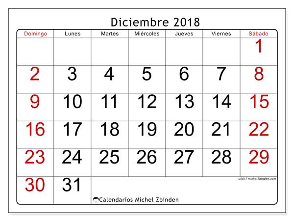 Calendario diciembre 2018, Emericus