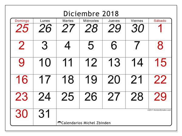 Calendario diciembre 2018, Oseus