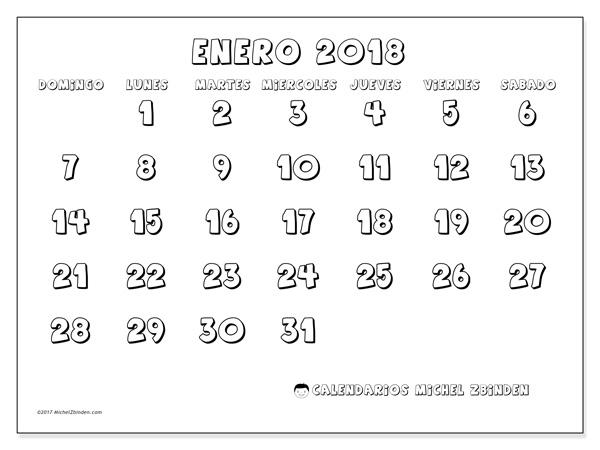 Calendario enero 2018, Adrianus