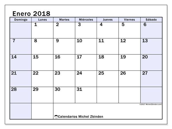 Calendario enero 2018, Auxilius