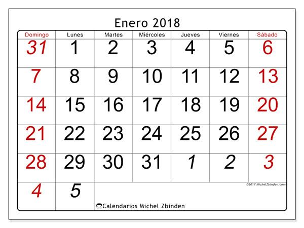 Calendario enero 2018, Oseus
