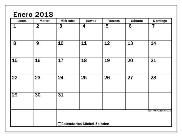 Calendario enero 2018, Tiberius