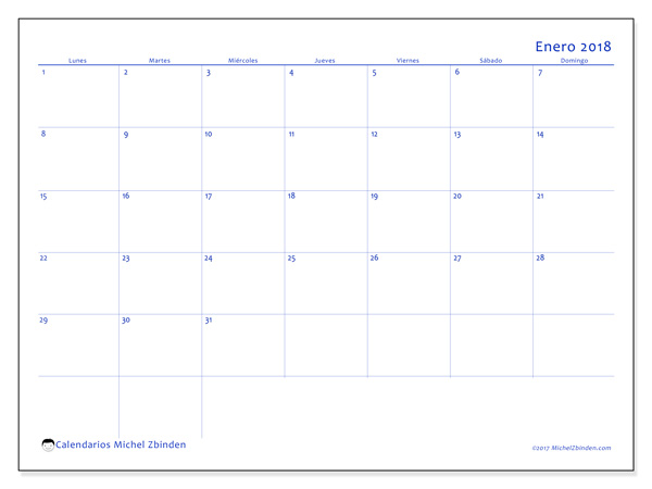 Calendario enero 2018 - Ursus (cl)