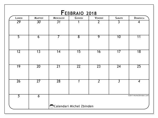 Calendario febbraio 2018, Maximus