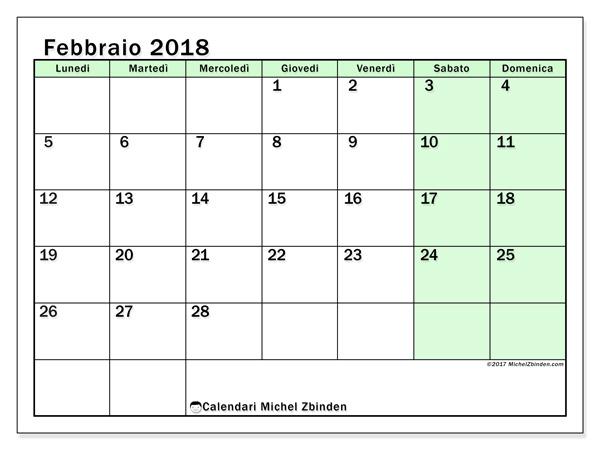 Calendario febbraio 2018, Nereus