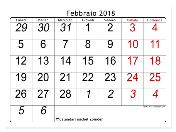 Calendario febbraio 2018, Oseus