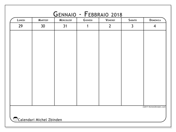 Calendario febbraio 2018, Septimanis 1