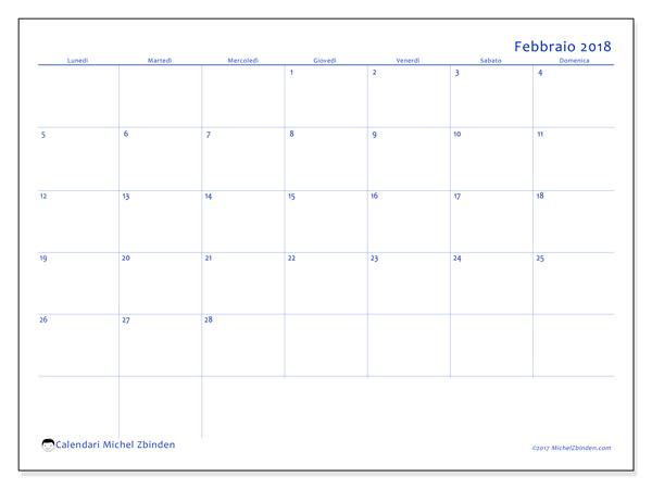 Calendario febbraio 2018, Ursus