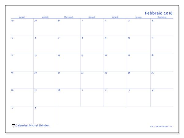 Calendario febbraio 2018, Vitus