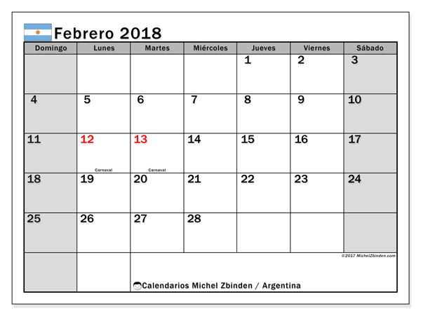 Calendario febrero 2018, Días feriados en Argentina