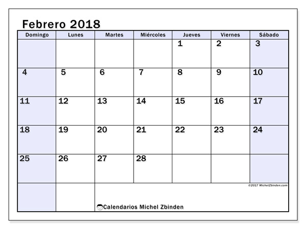 Calendario febrero 2018, Auxilius