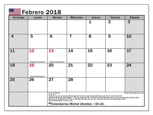 Calendario febrero 2018, Días feriados en el EE.UU.