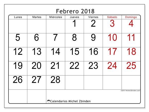 Calendario febrero 2018, Emericus