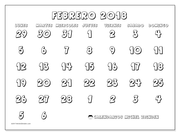 Calendario febrero 2018, Hilarius
