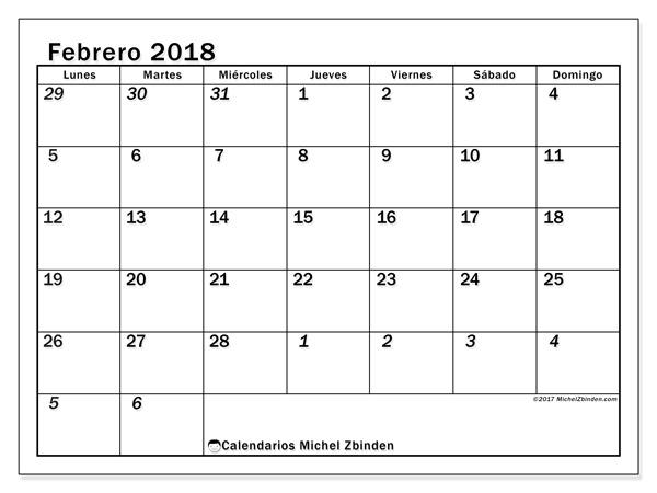 Calendario febrero 2018, Julius