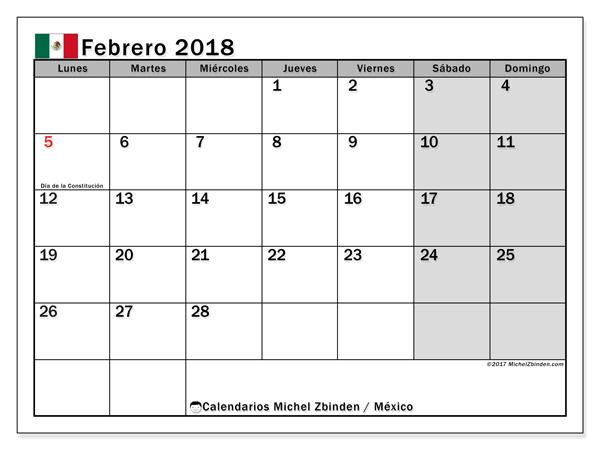 Calendario febrero 2018, Días feriados en México