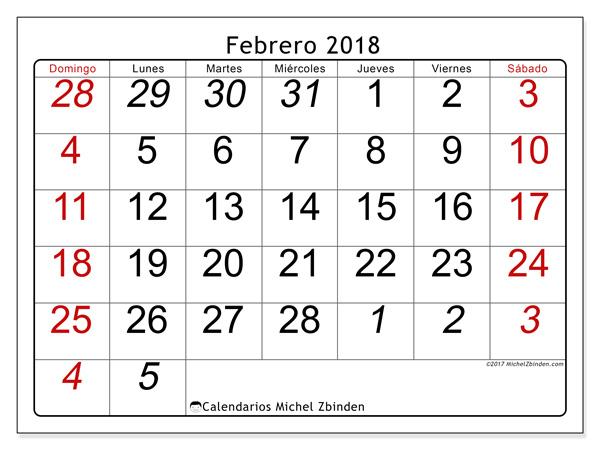 Calendario febrero 2018, Oseus