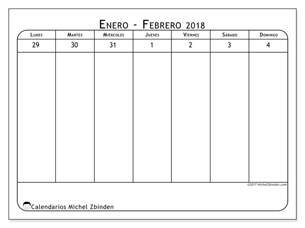 Calendario febrero 2018, Septimanis 1