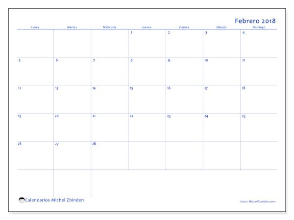 Calendario febrero 2018, Ursus