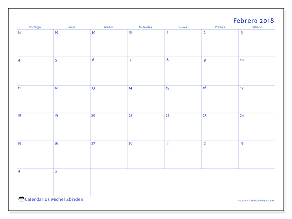 Calendario febrero 2018 - Vitus (co)