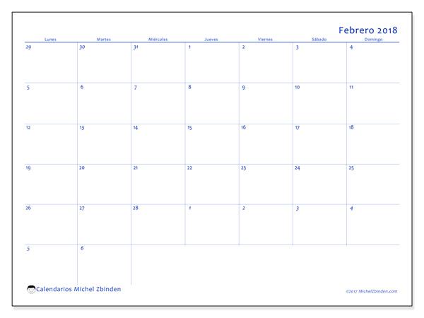 Calendario febrero 2018, Vitus