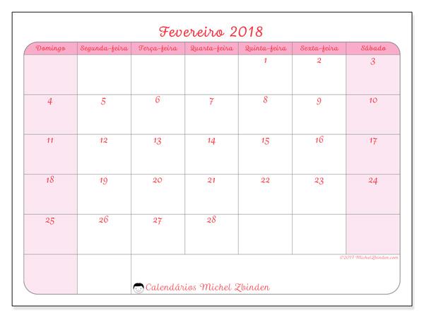 Calendário fevereiro 2018 - Generosa (br)