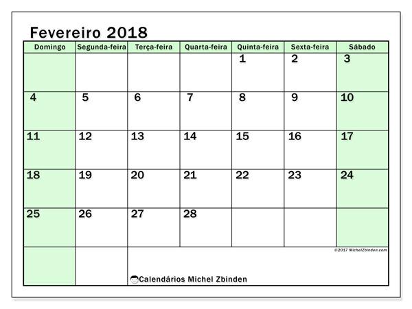 Calendário fevereiro 2018 - Nereus (br)