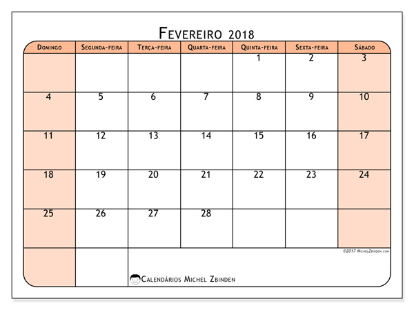 Calendário fevereiro 2018, Olivarius