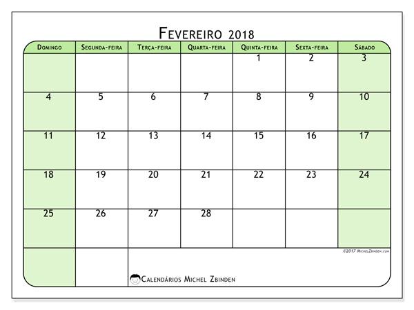 Calendário fevereiro 2018 - Silvanus (br)