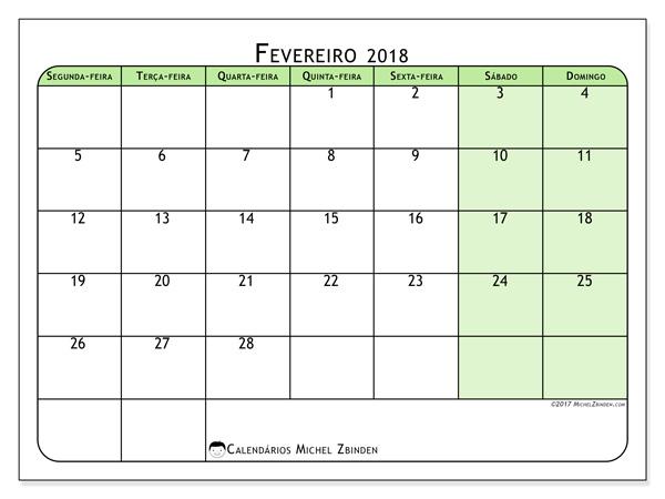 Calendário fevereiro 2018, Silvanus