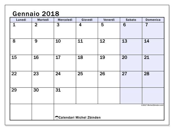 Calendario gennaio 2018, Auxilius