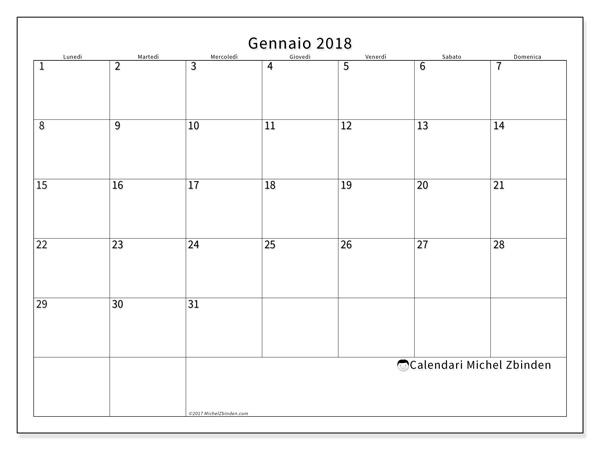 Calendario gennaio 2018, Horus