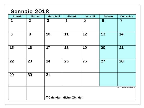 Calendario gennaio 2018, Laurentia