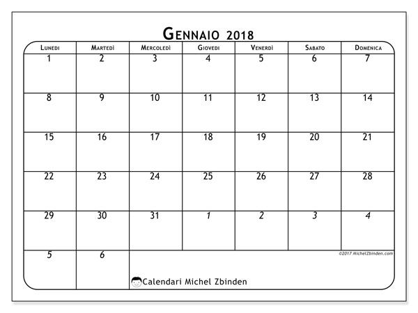 Calendario gennaio 2018, Maximus