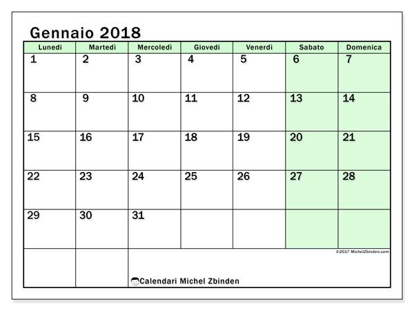 Calendario gennaio 2018, Nereus