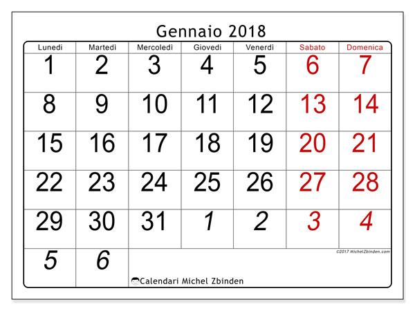 Calendario gennaio 2018, Oseus