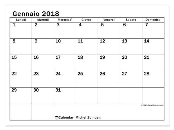 Calendario gennaio 2018, Tiberius