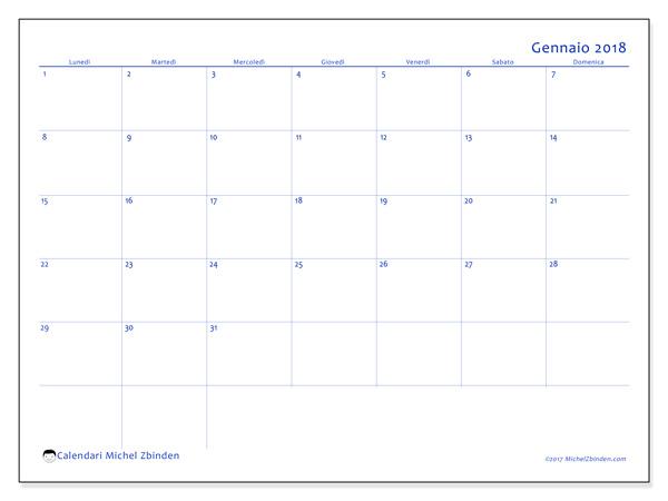 Calendario gennaio 2018, Ursus