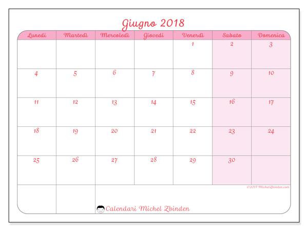 Calendario giugno 2018, Generosa