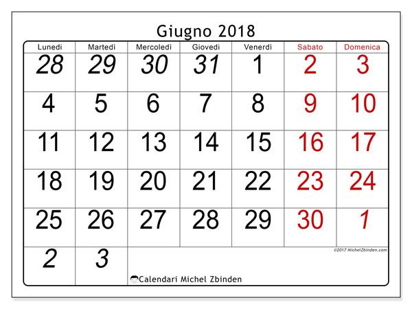 Calendario giugno 2018, Oseus