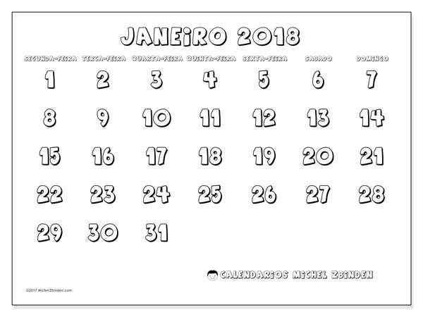 Calendário janeiro 2018, Adrianus