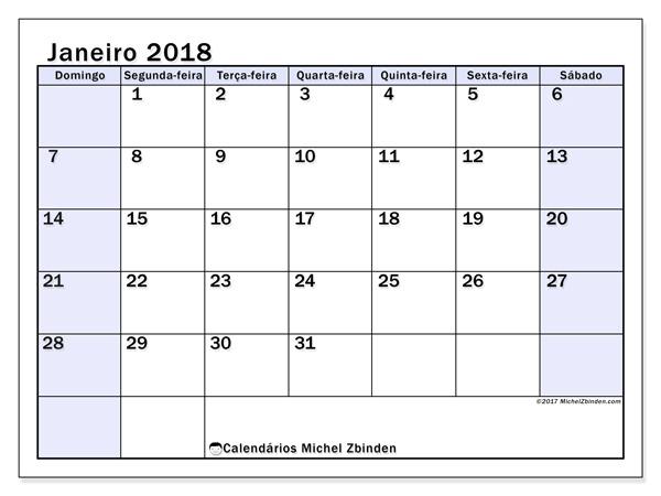 Calendário janeiro 2018, Auxilius