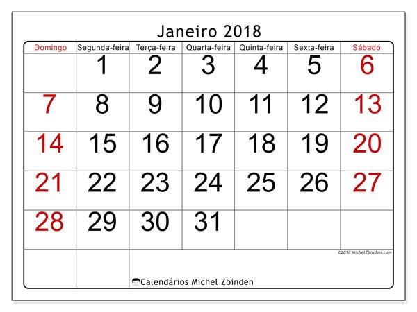 Calendário janeiro 2018, Emericus