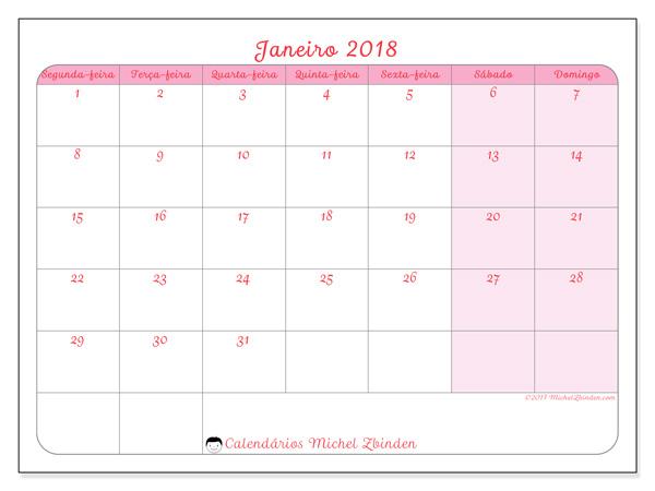 Calendário janeiro 2018, Generosa
