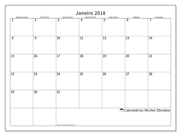 Calendário janeiro 2018, Horus